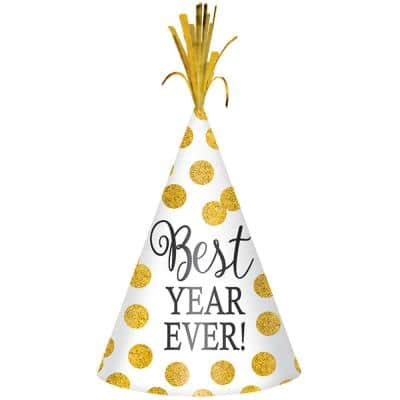 New Year's 9 in. White with Gold Dots Glitter Cone Hat (6-Pack)