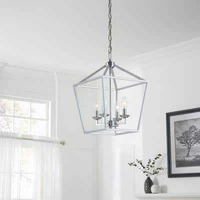 Weyburn 4-Light Polished Chrome Caged Chandelier