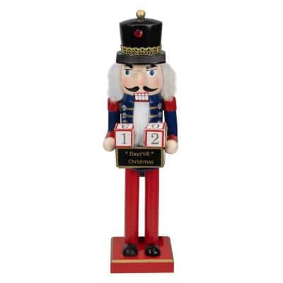 14 in. Decorative Wooden Red Blue and Gold Nutcracker with Christmas Countdown Sign