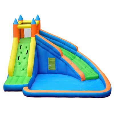 Outdoor Inflatable Water Park Kids Playhouse Inflatable Castle Bouncing House With Slide, Climbing Wall and Air Blower