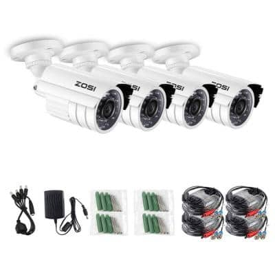 Wired 1080p Outdoor Bullet TVI Security Camera Compatible with TVI DVR in White (4-Pack)