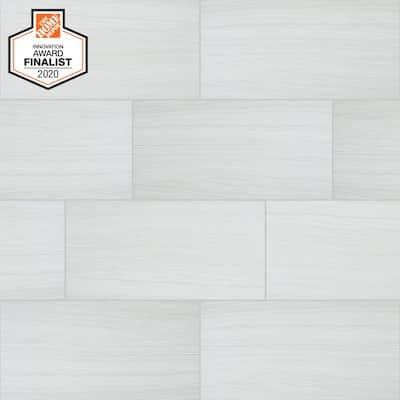 QuicTile 12 in. x 24 in. Tower White Matte Porcelain Locking Floor Tile (9.6 sq. ft. / case)