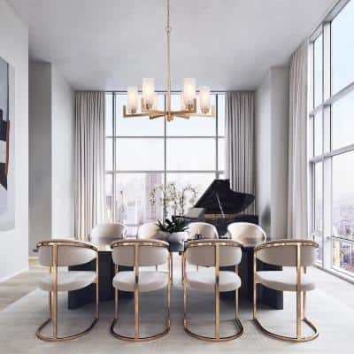 6-Light Gold Modern Farmhouse Chandelier Kitchen Island Chandelier with Frosted Glass Shades