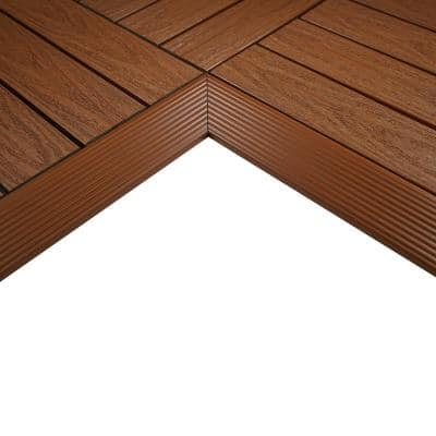 1/6 ft. x 1 ft. Quick Deck Composite Deck Tile Inside Corner Fascia in Honduran Mahogany (2-Pieces/Box)