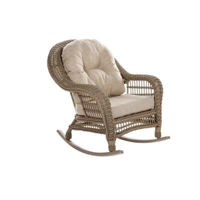 Saturn Collection Wicker Outdoor Rocking Chair with Beige Cushions
