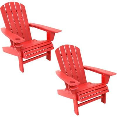 All-Weather Red Plastic Outdoor Adirondack Chair with Drink Holder (2-Pack)