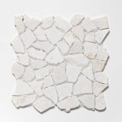 Fit Tile White 11-3/8 in. x 11-3/8 in. x 9.5 mm Indonesian Marble Mesh-Mounted Mosaic Tile (10.01 sq. ft. / case)
