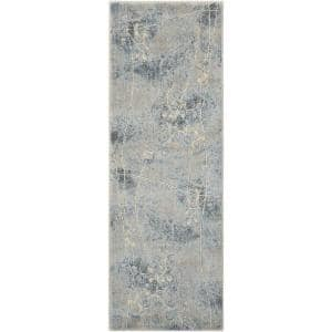 Somerset Silver/Blue 2 ft. x 8 ft. Oriental Modern Runner Rug