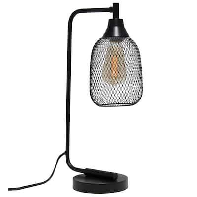 19 in. Matte Black Industrial Mesh Desk Lamp
