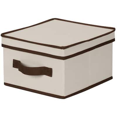 6 in. H x 10 in. W x 11 in. D Off White Fabric Cube Storage Bin