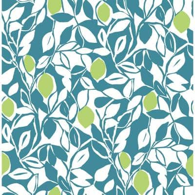 Loretto Teal Citrus Paper Strippable Roll (Covers 56.4 sq. ft.)