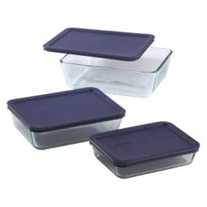 Simply Store 6-Piece Rectangle Glass Storage Set with Blue Lids