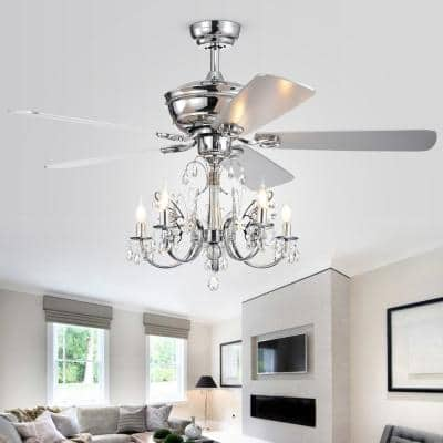 Silver Orchid Finlayson 52 in. Indoor Chrome Remote Controlled Ceiling Fan with Light Kit