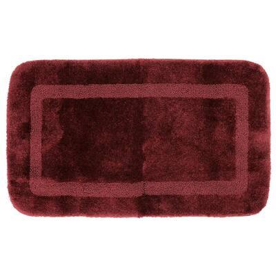 Facet Merlot 20 in. x 34 in. Nylon Machine Washable Bath Mat