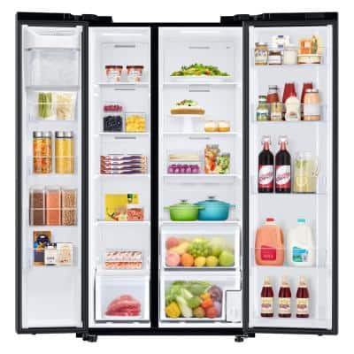 23 cu. ft. Smart Side-by-Side Refrigerator in Fingerprint Resistant Black Stainless Steel, Counter Depth