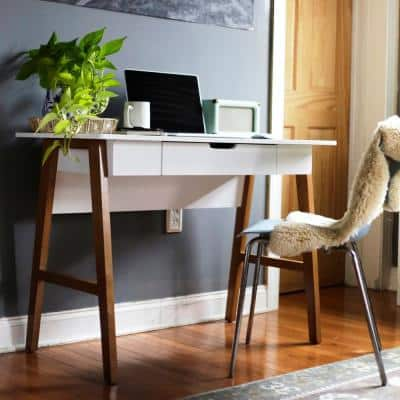 Telos White Home Office Writing Computer Desk