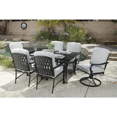 Sarasota 7-Piece Metal Rectangular Outdoor Dining Set with Taupe Cushion