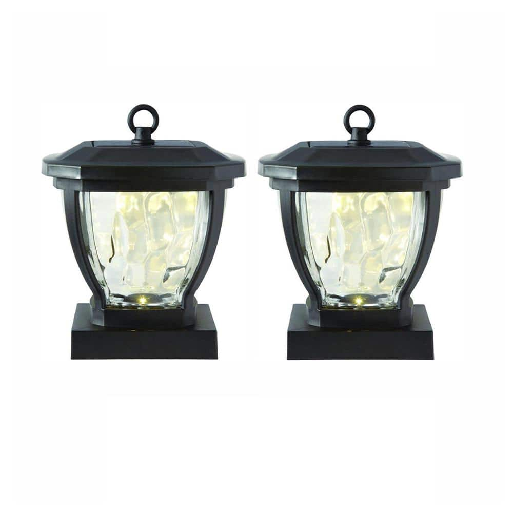 Hampton Bay Solar Bronze Outdoor Integrated Led Deck Post Light With Water Glass Lens 2 Pack Nxt Dp02 The Home Depot