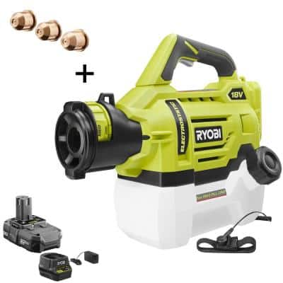 ONE+ 18V Cordless Electrostatic 0.5 Gal. Sprayer with Extra (2) Medium & (1) High Nozzles with 2.0 Ah Battery & Charger