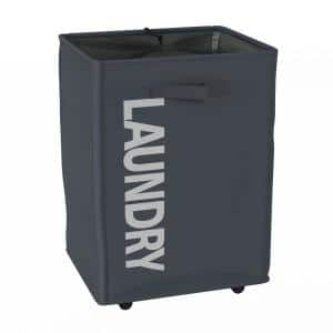 Collapsible Laundry Hamper with Mesh Liner and Wheels