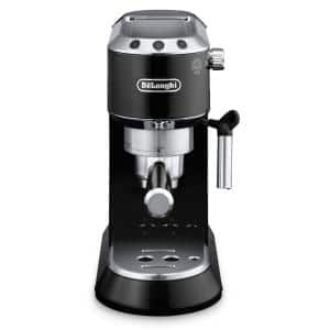 Dedica 15-Bar Black Stainless Steel Slim Espresso Machine and Cappuccino Maker