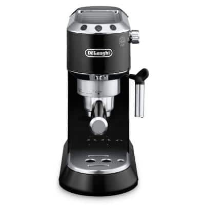Dedica 15-Bar Black Stainless Steel Slim Espresso Machine and Cappuccino Maker