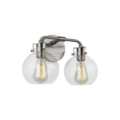Clara 14 in. 2-Light Satin Nickel Vanity Light Clear Seeded Glass Shades