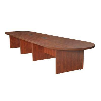 Magons 192 in. Cherry Modular Racetrack Conference Table with 2 Power Data Grommets