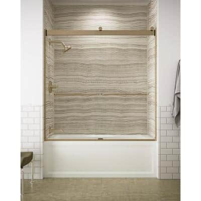 Levity 59 in. x 62 in. Semi-Frameless Sliding Tub Door in Anodized Brushed Bronze with Handle
