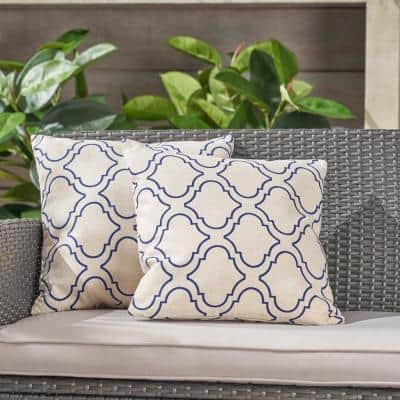 Moher Beige and Blue Square Outdoor Throw Pillows (Set of 2)