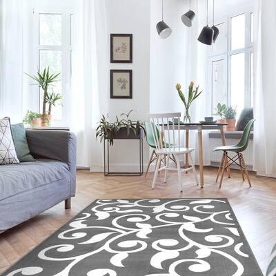 Area Rugs Modern Desing for Living Room 5 x 7 Gray/White