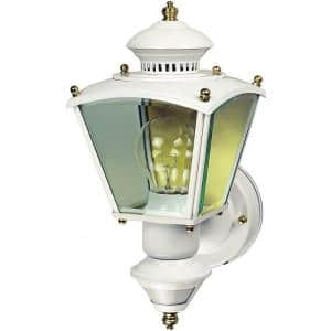 150-degree White Charleston Coach Lantern Sconce with Clear Glass
