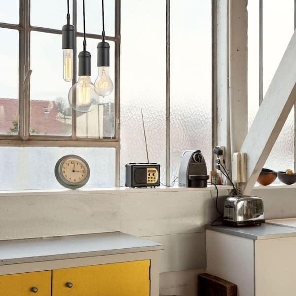 Globe Electric 1-Light Vintage Edison Matte Black Mini Pendant