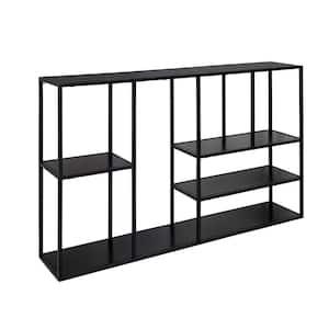 Ulna 6 in. x 36 in. x 22 in. Black Metal and Wood Decorative Wall Shelf