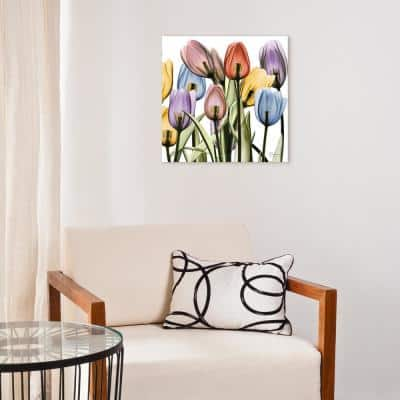 """""""Tulip Scape X-Ray II"""" Frameless Free Floating Tempered Glass Panel Graphic Wall Art"""