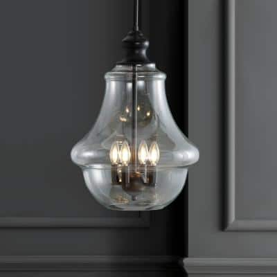 Adam 16 in. 4-Light Oil Rubbed Bronze Adjustable Metal/Glass LED Pendant