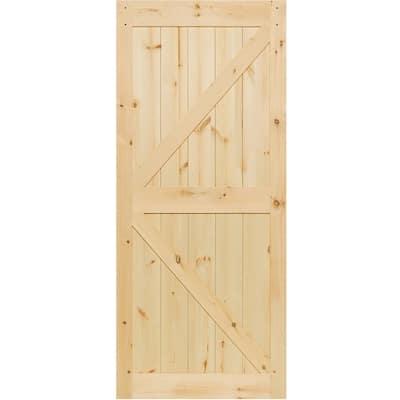 36 in. x 83.5 in. K-Bar Solid Core Pine Unfinished Interior Barn Door Slab