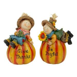 6.5 in. Girl and Boy Scarecrow Pumpkins With Sunflowers and Leaf's Fall Figurines (Set of 2)