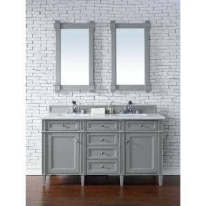 Brittany 60 in. W Double Bath Vanity in Urban Gray with Quartz Vanity Top in Classic White with White Basin