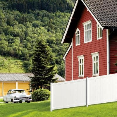 Pro Series 5 in. x 5 in. x 8 ft. White Vinyl Woodbridge Routed End Fence Post