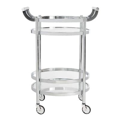 Sienna 2-Tier Chrome Bar Cart