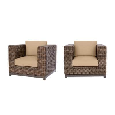 Fernlake Taupe Wicker Outdoor Patio Stationary Lounge Chair with Sunbrella Beige Tan Cushions (2-Pack)