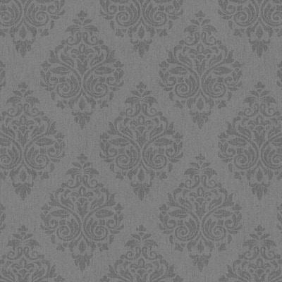 Ottoman Texture Dark Gray-Silver Vinyl Non-Woven Strippable Roll Wallpaper Covers 59.2 sq. ft.