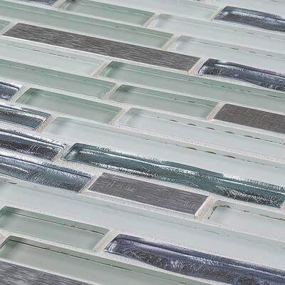 Fresh Taffy Blue 11.5 in. x 11.875 in. Interlocking Gloss Glass/Metal Mosaic Tile (0.948 sq. ft./Each)