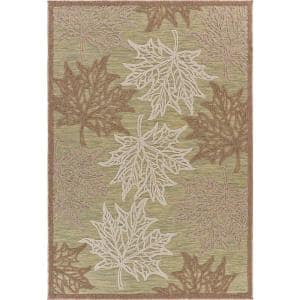 Retreat Green 5 ft. x 7 ft. Maple Leaves Fall Indoor/Outdoor Area Rug