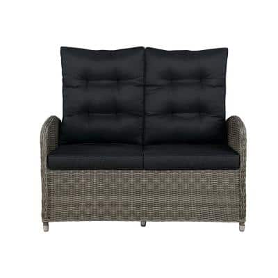 Monaco 1-Piece All-Weather Wicker Outdoor Reclining Loveseat with Dark Gray Cushions