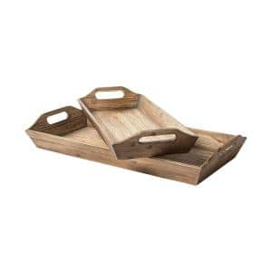 Natural Brown Wood Trays (Set of 2)