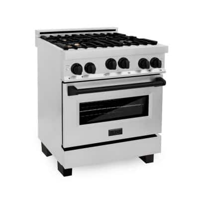 30 in. 4.0 cu. ft. Gas Range with Convection Gas Oven in Stainless Steel with Matte Black Accents