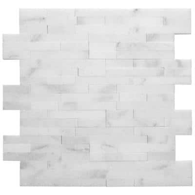 Venetian Brick White 11.625 in. x 12.5 in. Interlocking Polished Marble Mosaic Tile (1 sq. ft./Each)