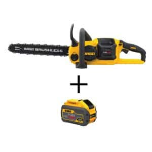 16 in. 60V MAX Lithium Ion Cordless FLEXVOLT Brushless Chainsaw (Tool Only) with Bonus FLEXVOLT (1) 3.0Ah Battery
